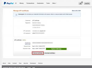 PayPal - API Certificate Remove Button