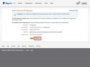 PayPal - API Signature Remove Button