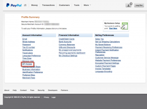 PayPal Classic Profile - API Access Link