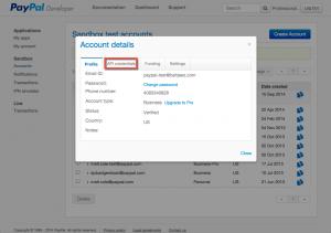 PayPal Developer Portal - Account Details
