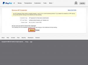 PayPal - Remove API Signature Page